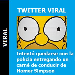 Intentó quedarse con la policía entregando un carné de conducir de Homer Simpson
